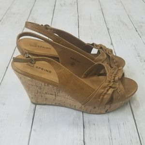 Call It Spring Leather Cork Wedge Heel Sandals